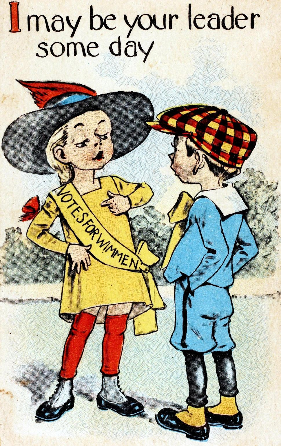 "A color illustration of a girl wearing a yellow banner which has ""Votes for Wimmen"" written on it as she expresses the campai"