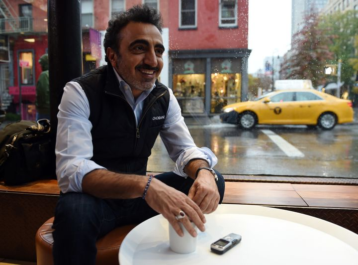 Hamdi Ulukaya pauses during an interview on November 17, 2014, in New York.