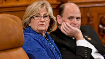 House Ways and Means Committee, members Rep. Diane Black, R-Tenn., left, and Rep. Tom Reed, R-N.Y., listen during testimony by witness Marilyn Tavenner, the administrator of the Centers for Medicare and Medicaid Services, as the panel held a hearing about problems with the implementation of the Affordable Care Act, Tuesday, Oct. 29, 2013, on Capitol Hill in Washington. (AP Photo/J. Scott Applewhite)