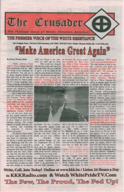 The KKK's newspaper recently published their endorsement of