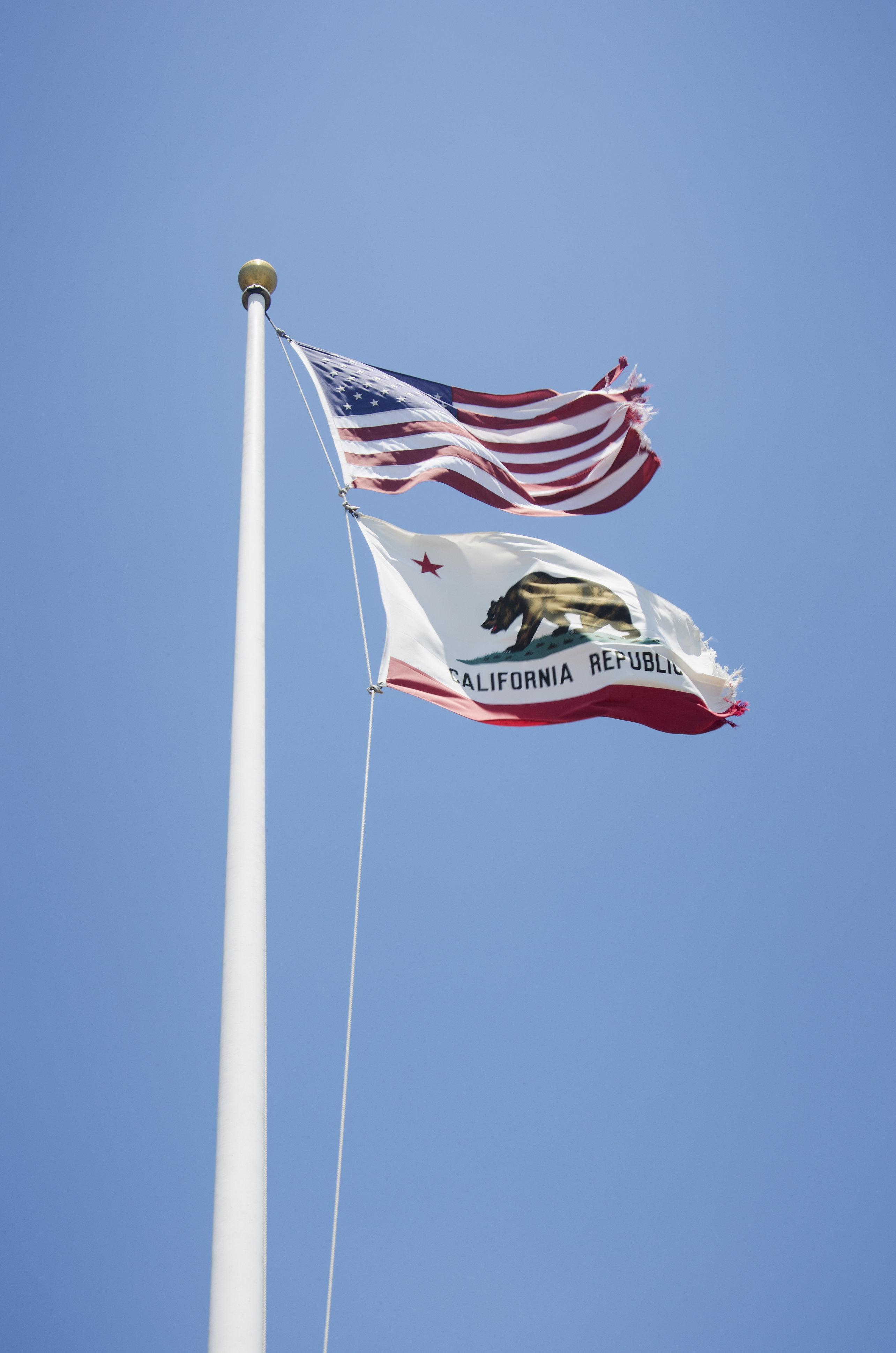American and California state flag, San Francisco, California, USA.