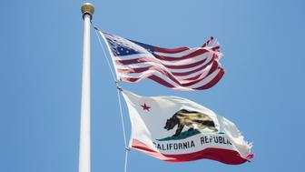 American and California state flag, San Francisco, California, USA.