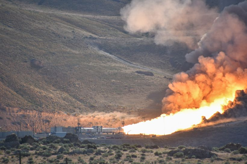 NASA and Orbital ATK test a Space Launch System solid rocket booster in mid-2016.