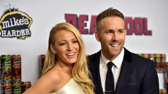 NEW YORK, NY - FEBRUARY 08:  Actors Blake Lively (L) and Ryan Reynolds attend the 'Deadpool' fan event at AMC Empire Theatre on February 8, 2016 in New York City.  (Photo by Dimitrios Kambouris/Getty Images)