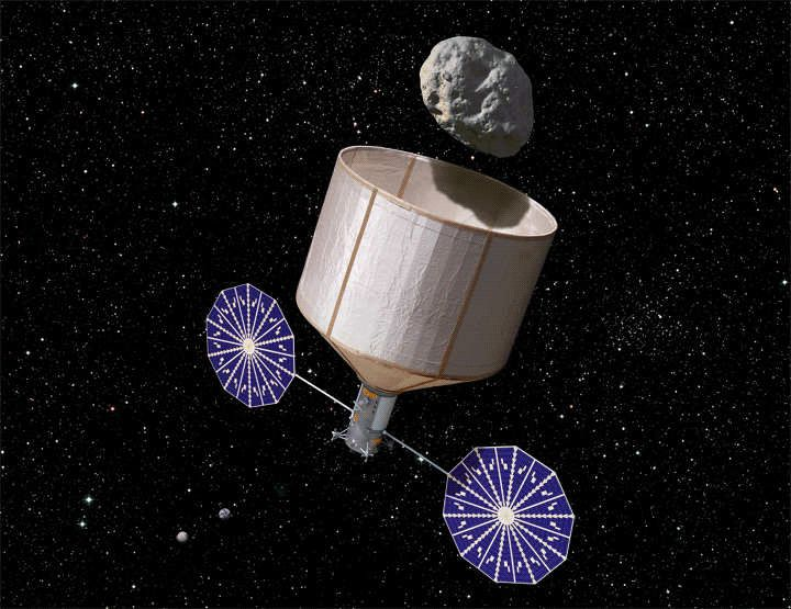 The original Asteroid Redirect Mission concept, as envisioned by the Keck Institute, uses a large capture bag to enclose a sm