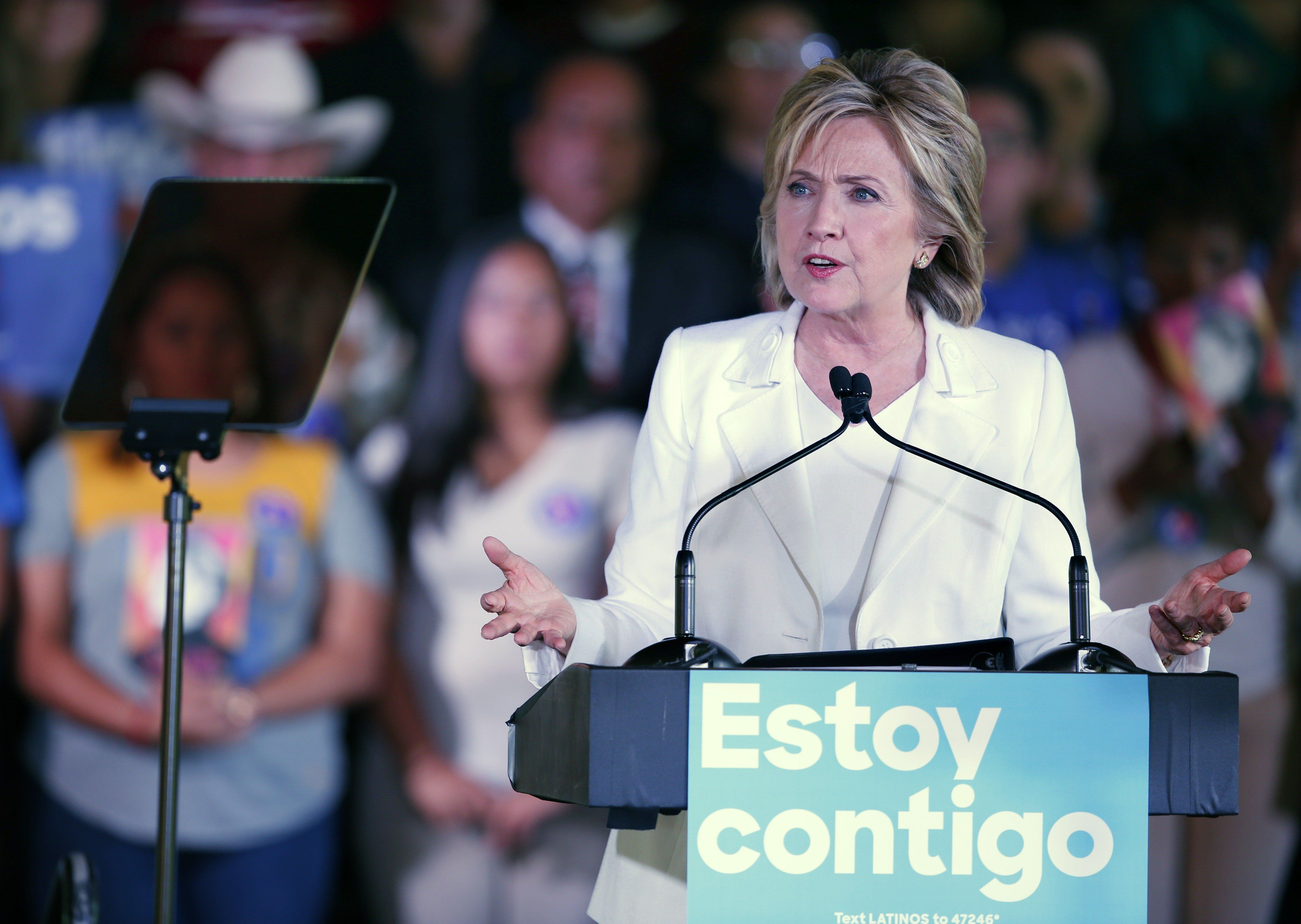 """Hillary Clinton courted Latino votes throughouther campaign, including at this """"Latinos for Hillary"""" event in San Anton"""