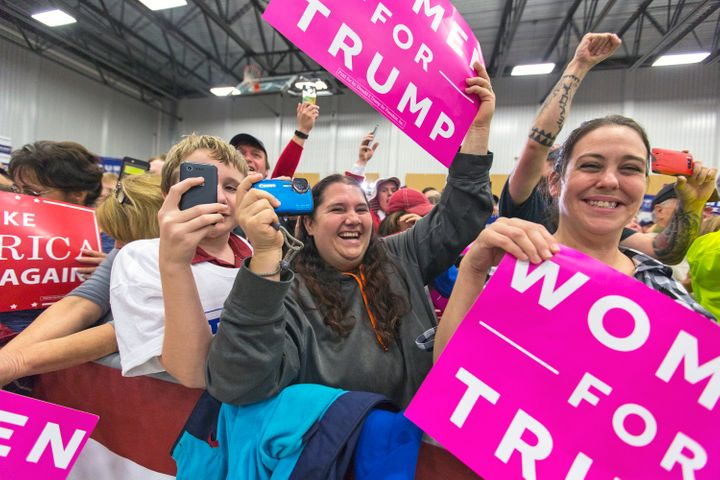 Trump supporters go wild as their candidate speaks at the Open Door Christian Academy in Lisbon, Maine.
