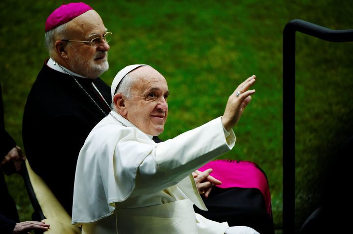 Pope Francis and Sweden's Catholic bishop Anders Arborelius arrive to Malmo arena for a Catholic mass, Sweden Nov. 1.