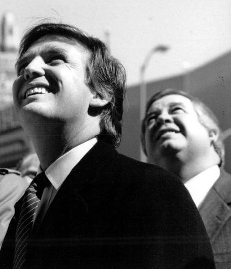 Donald Trump and Stephen Hyde at the March 20th, 1987 topping-off ceremony for the Trump Plaza Hotel and Casino in Atlantic C