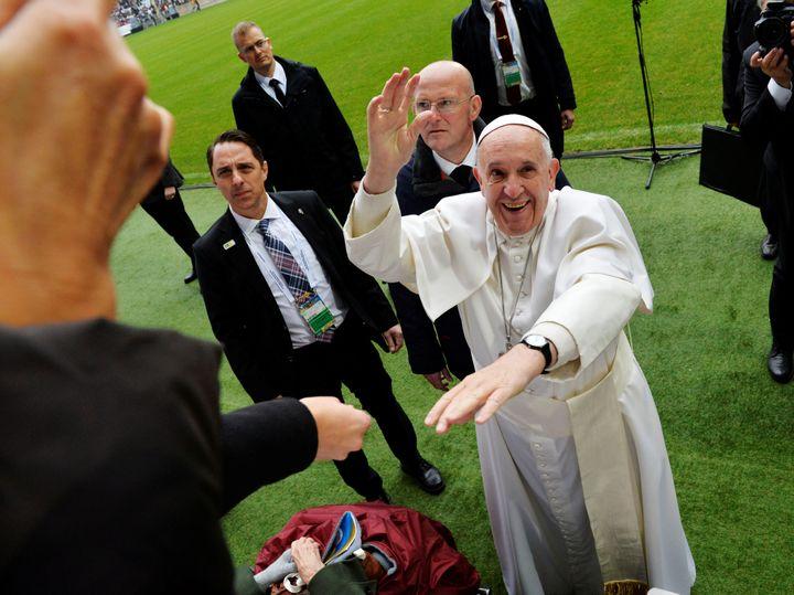 Pope Francis arrives to Malmo arena for a Catholic mass, Sweden Nov. 1.