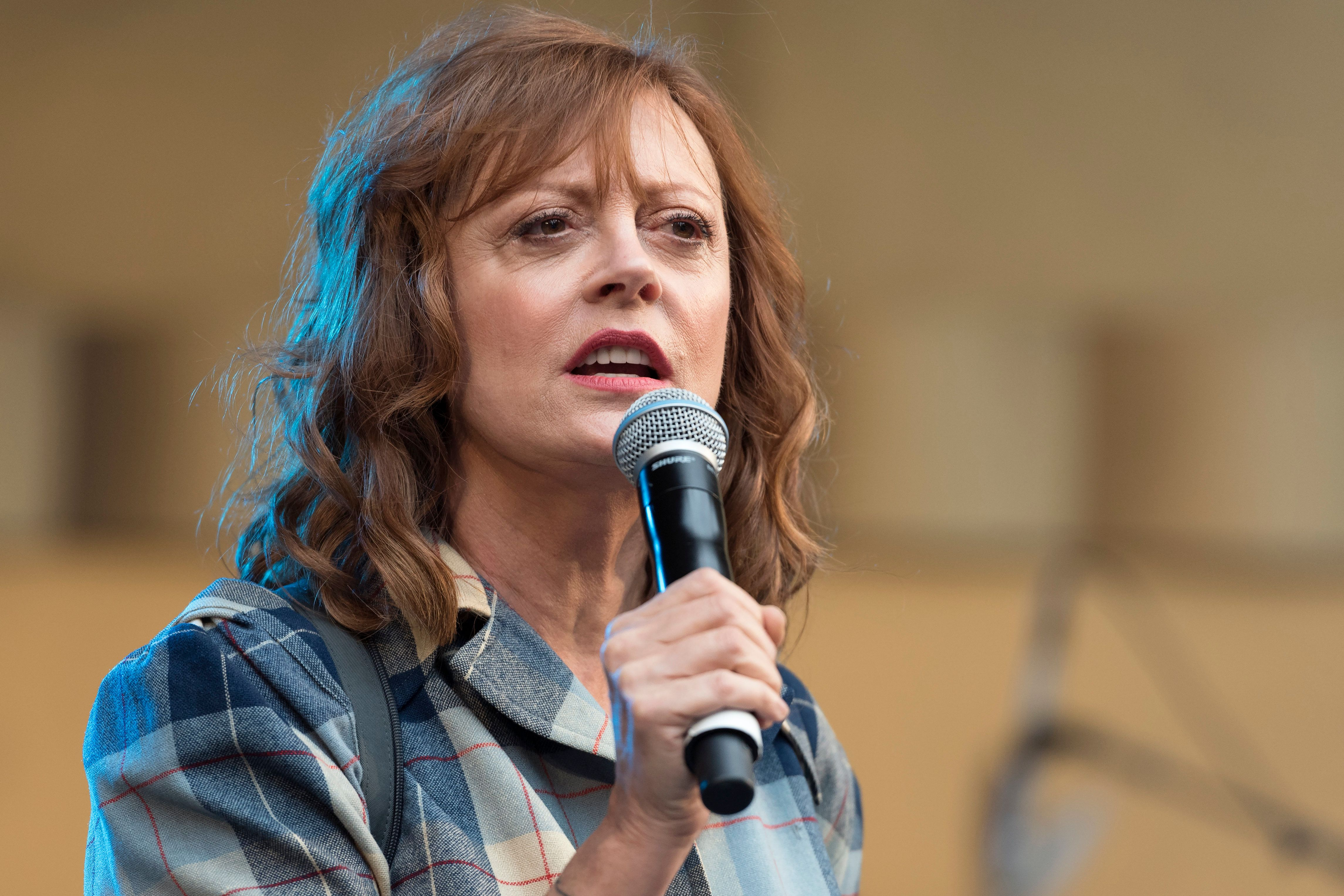 Actress and activist, Susan Sarandon, speaks during Climate Revolution Rally in Los Angeles, California. October 23, 2016. The rally is part of a series of Climate Revolution rallies held across the country to inform people about issues related to climate change and social justice.  (Photo by Ronen Tivony/NurPhoto via Getty Images)