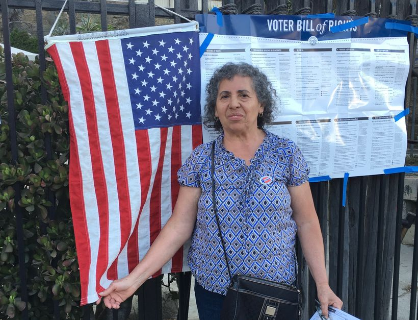 Yesika's mami, Adela Palacios Salgado, voting for her first time during the California preliminary elections.