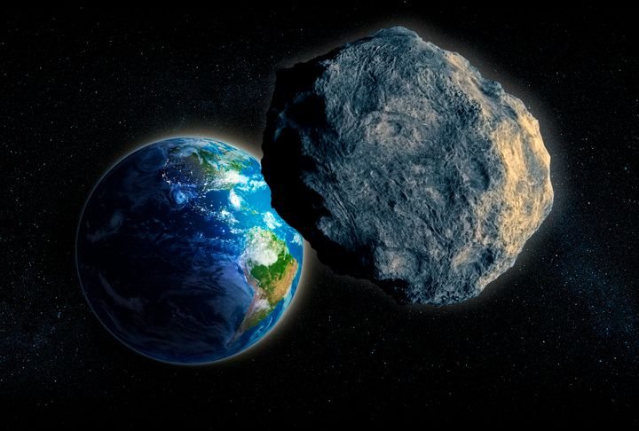 Computer art of an asteroid approaching Earth.