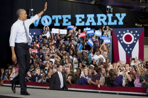 President Barack Obama arrives to speak during a campaign event for Democratic Presidential nominee Hillary...