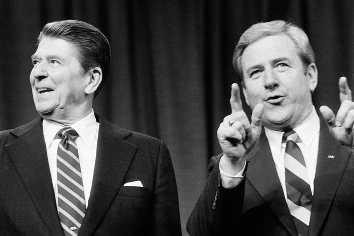 Ronald Reagan and Jerry Falwell at the Baptist Fundamentalism '84 Conference, April 1984.