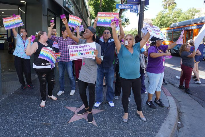 LGBT Center workers marching in Hollywood.