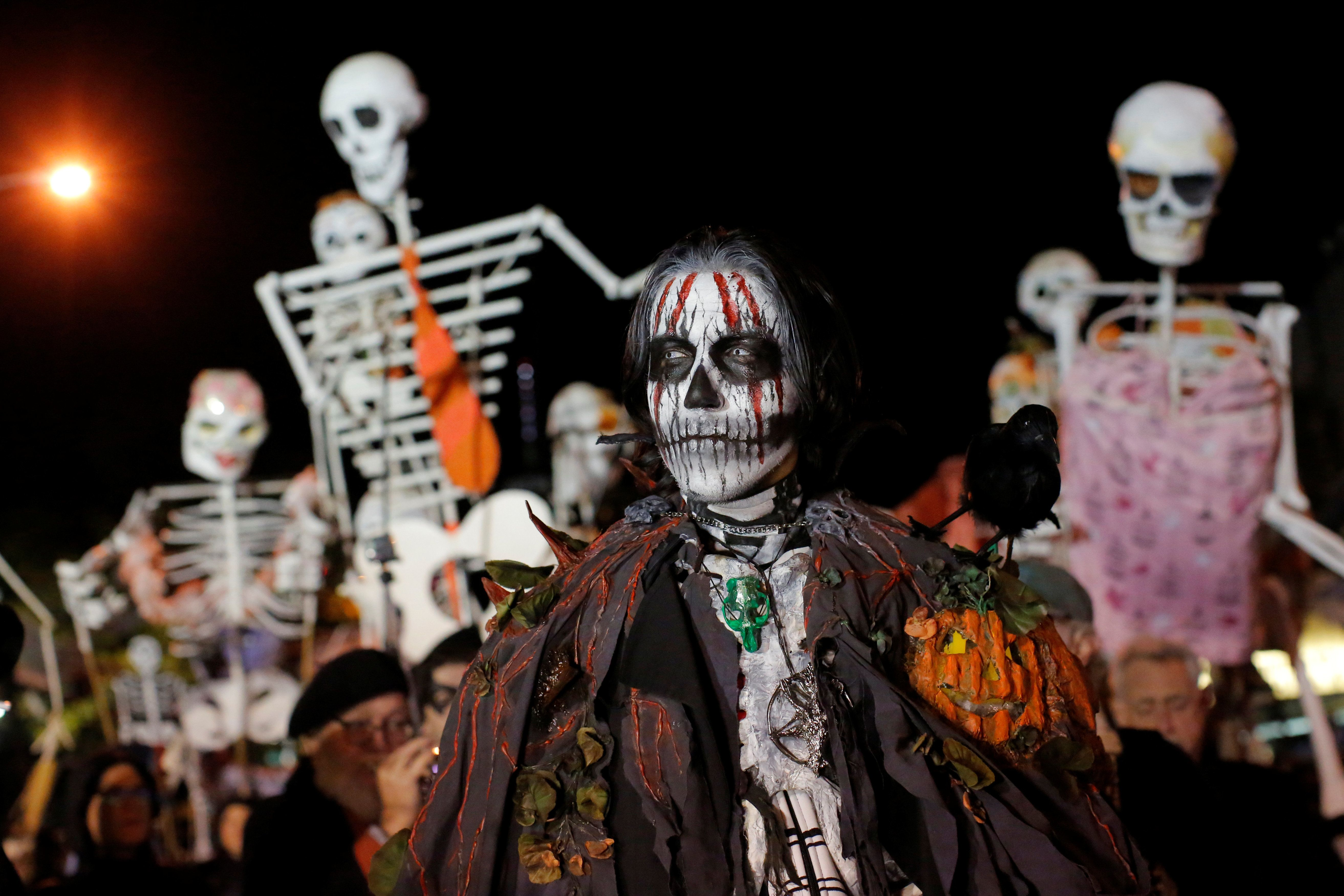 A man dressed as Samhain participates in the Greenwich Village Halloween Parade in Manhattan, New York, U.S., October 31, 2016.  REUTERS/Andrew Kelly