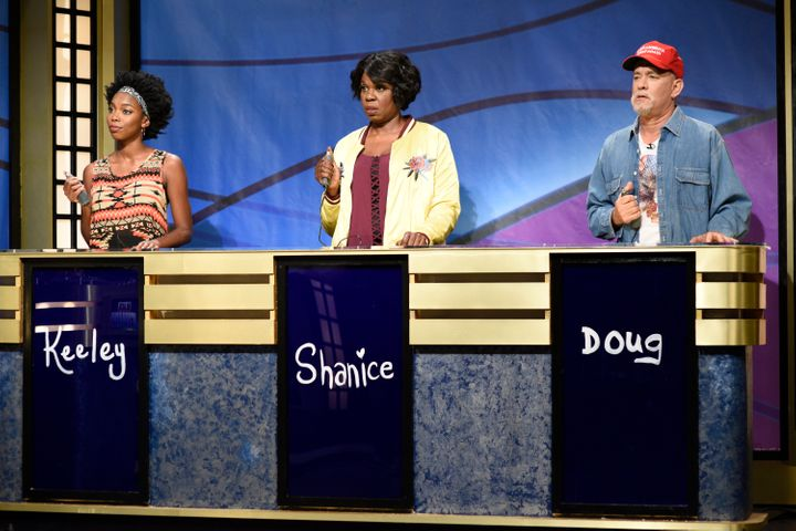 "Sasheer Zamata, Leslie Jones and Tom Hanks in the ""Black Jeopardy"" sketch on ""Saturday Night Live"" last month."
