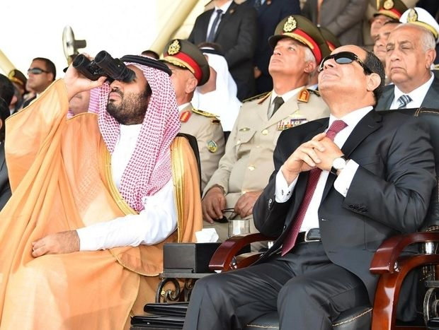 Egyptian President Abdel Fattah al-Sisi (R) speaking with Saudi deputy Crown Prince and Minister of Defence Mohammed bin Salm