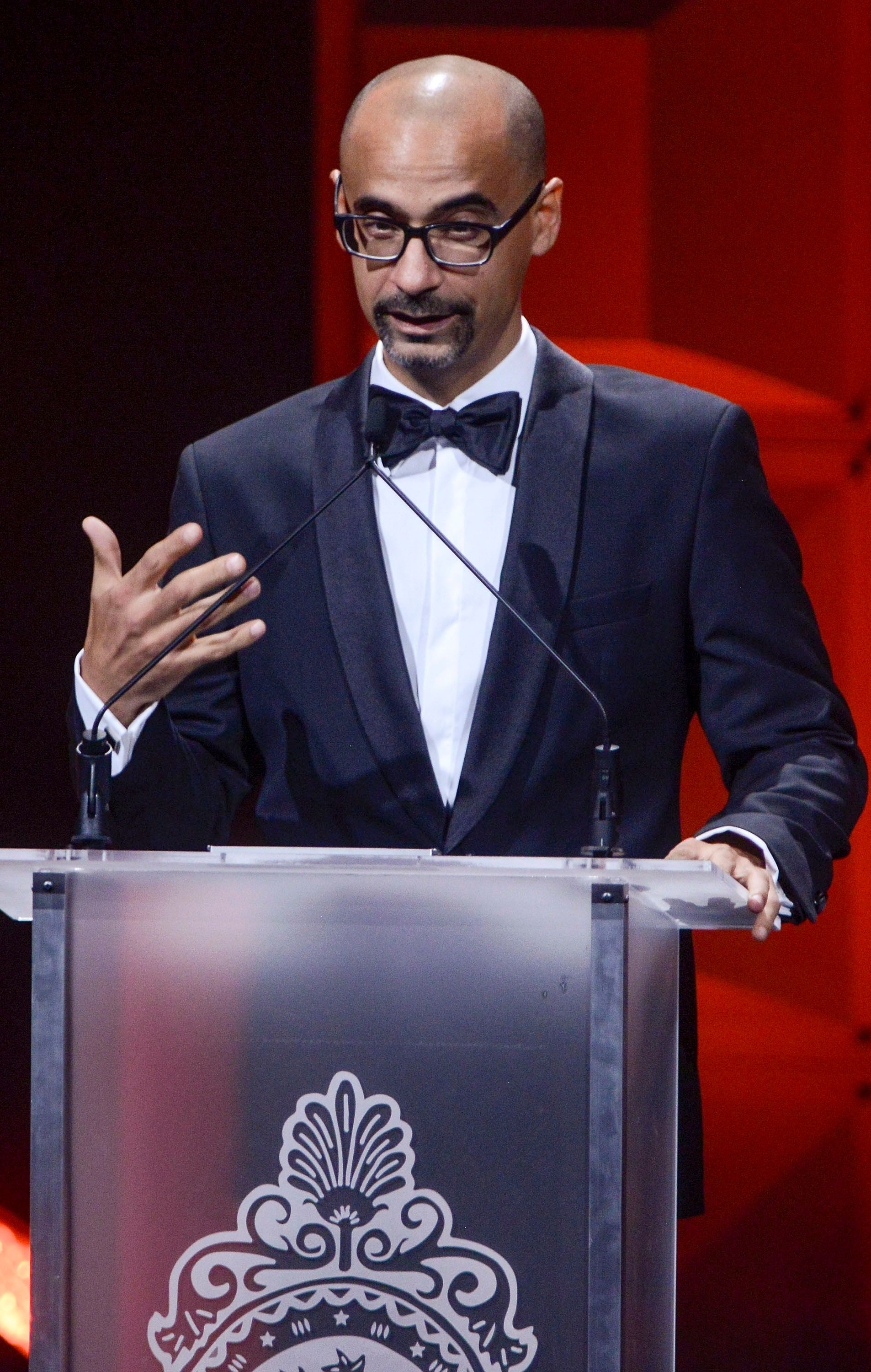 WASHINGTON, DC - SEPTEMBER 22: Junot Diaz receives a Literature Award during the 29th Hispanic Heritage Awards at the Warner Theatre on September 22, 2016 in Washington, DC.  (Photo by Leigh Vogel/Getty Images)