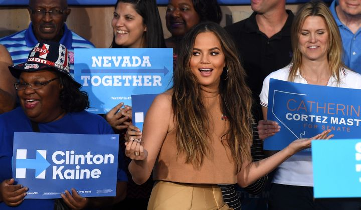Chrissy Teigen campaigns for Clinton in October.