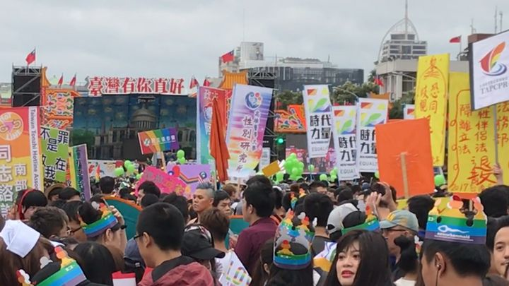 Thousands Pack Downtown Taipei for Taiwan Pride 2016.
