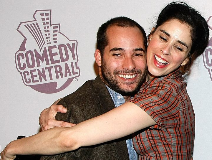 'The Sarah Silverman Program' writer Harris Wittels and comedian Sarah Silverman arrive at Comedy Central's Emmy Awards party at the STK restaurant September 21, 2008 in Los Angeles, California