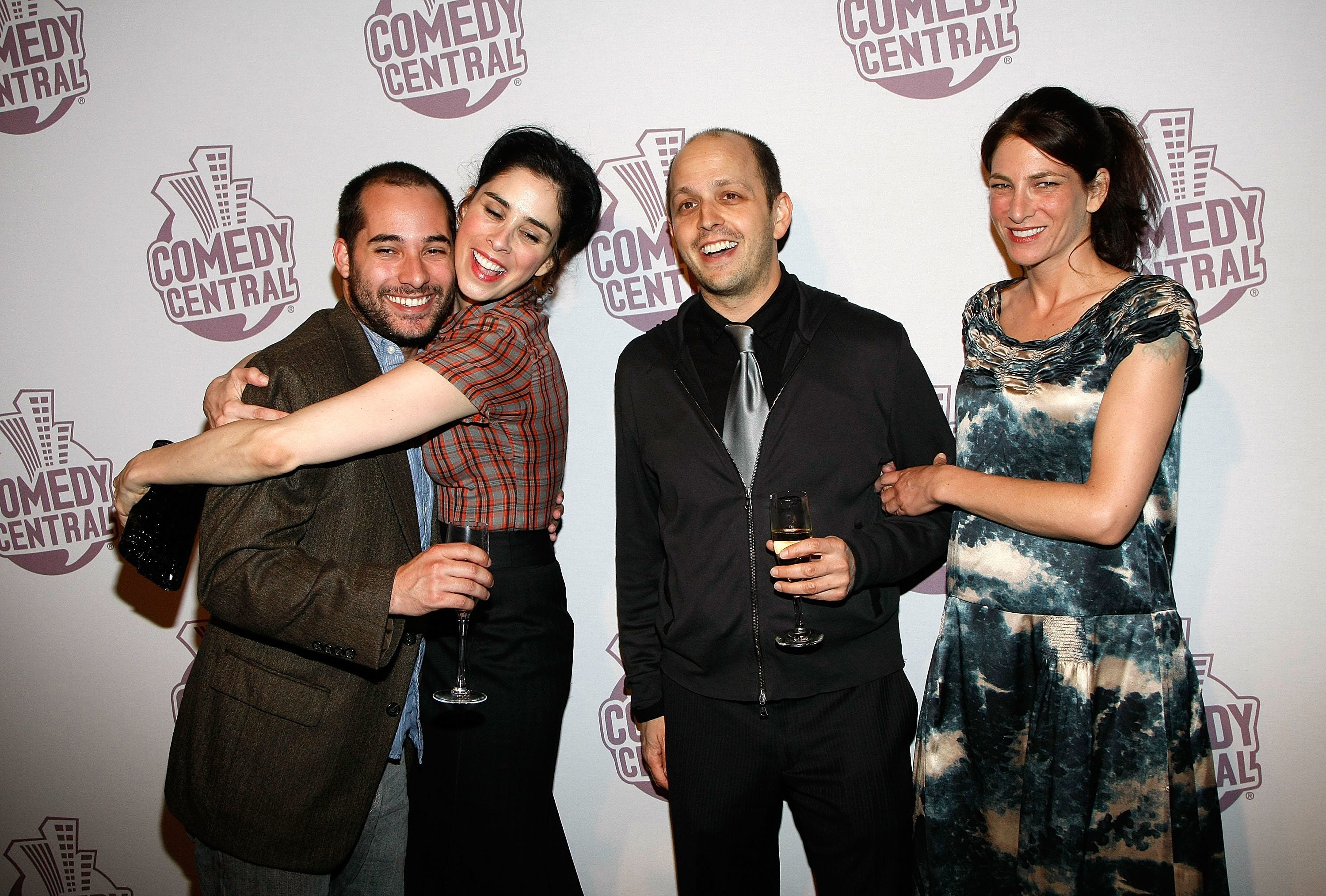 LOS ANGELES, CA - SEPTEMBER 21:  (L-R) 'The Sarah Silverman Program' writer Harris Wittels, comedian Sarah Silverman, executive producer/head writer Dan Sterling and actress Laura Silverman arrive at Comedy Central's Emmy Awards party at the STK restaurant September 21, 2008 in Los Angeles, California.  (Photo by Ethan Miller/Getty Images)