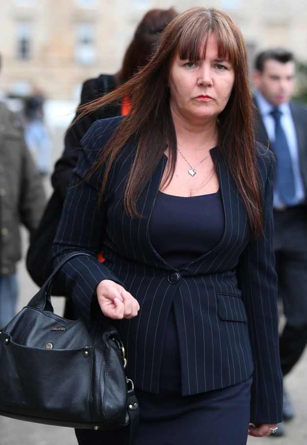 Patricia McLeish leaves Glasgow Sheriff Court where she had given