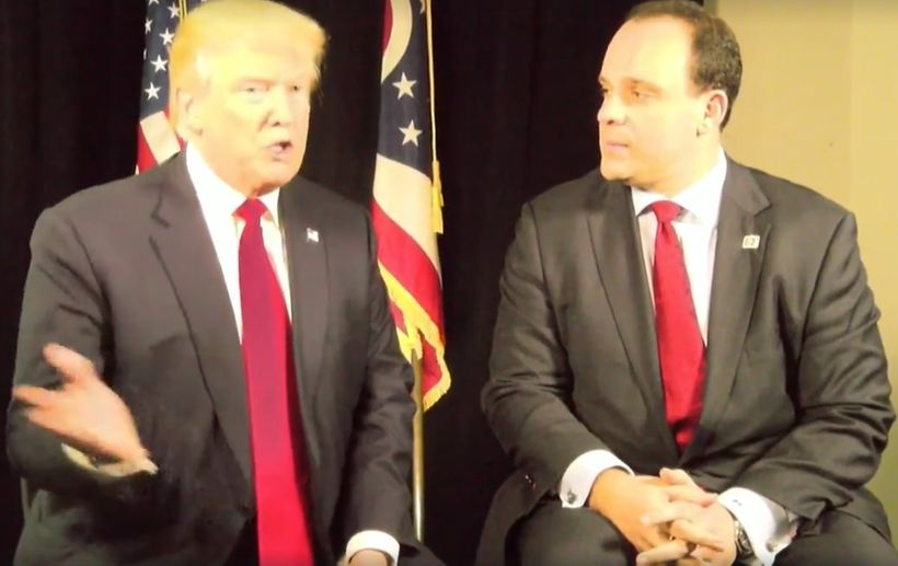 "Screen grab from October 27 campaign event featuring live ""interview"" with Boris Epshteyn."
