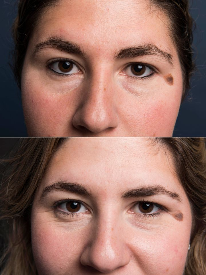 Top: Brows at the beginning. Bottom: After shaping.