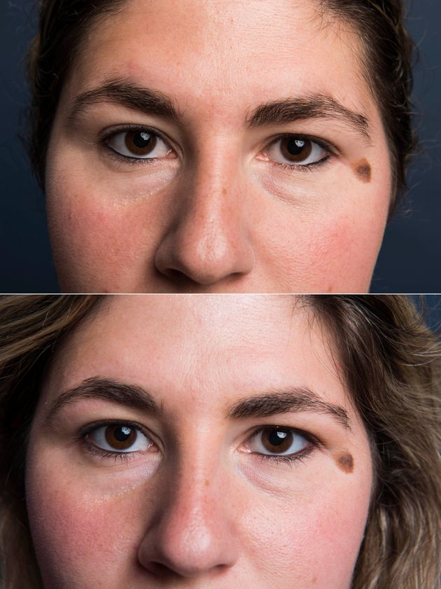 Top: My beginning brows. Bottom: After
