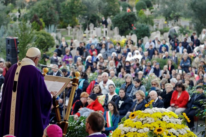 Pope Francis leads a Mass on the occasion of All Souls' Day at the Prima Porta Cemetery in Rome, Italy Nov. 2.