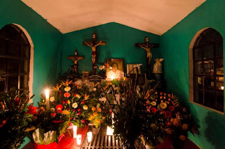 A view of an offering at San Gregorio Atlapulco cemetery during the Day of the Dead celebration known as Dia de los Muertos.