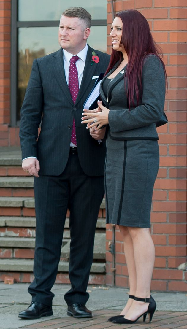 Deputy leader of Britain First, Jayda Fransen, with leader, Paul Golding, (left) outside Luton Magistrates'