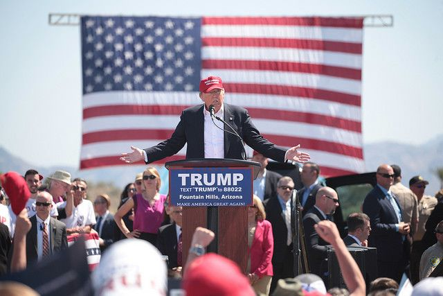 Donald Trump addresses supporters at a Fountain Hills, Arizona, rally.