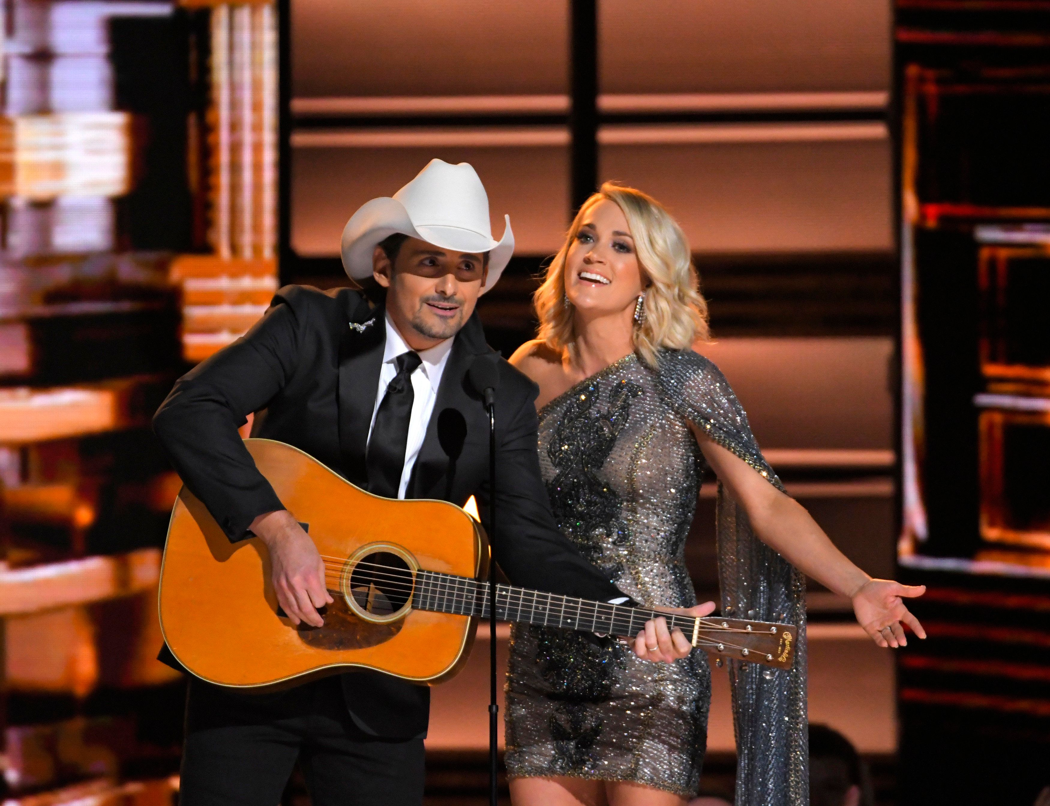 Hosts Brad Paisley and Carrie Underwood open the show at the 50th Annual Country Music Association Awards in Nashville, Tennessee, U.S., November 2, 2016.  REUTERS/Harrison McClary