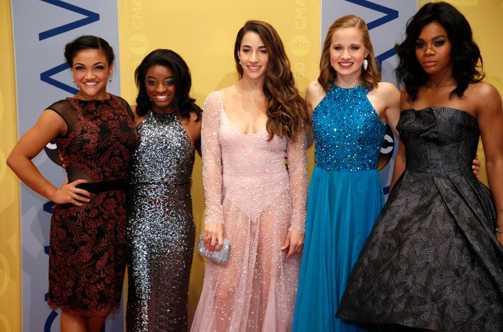 Olympic gymnasts (L-R) Laurie Hernandez, Simone Biles, Aly Raisman, Madison Kocian and Gabby Douglas.