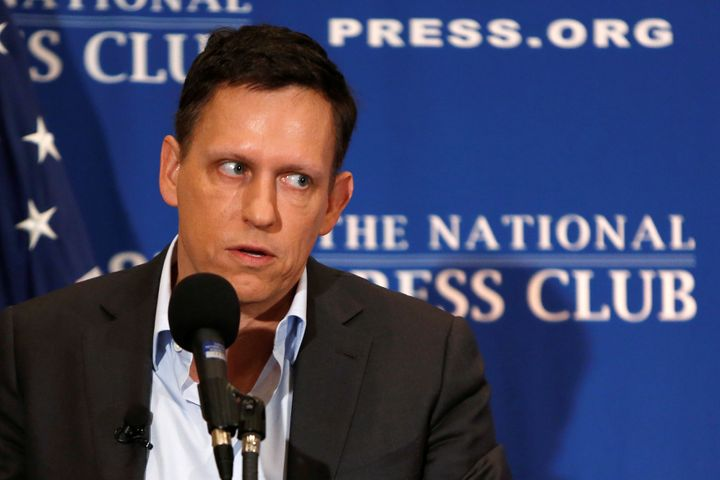 Peter Thiel delivers a speech at the National Press Club in Washington on Monday.