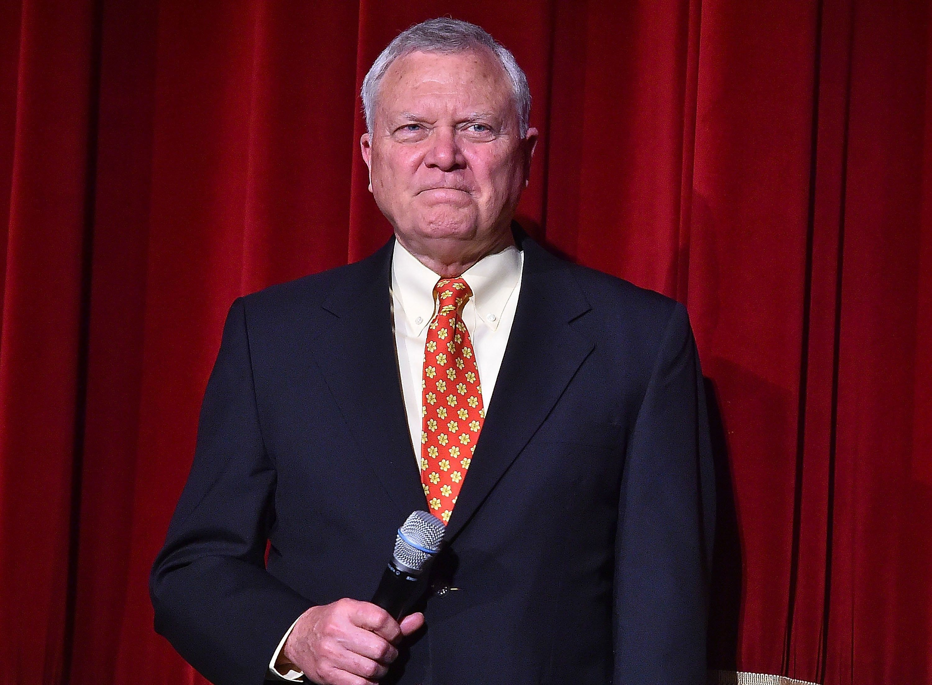 ATLANTA, GA - MAY 01:  (EXCLUSIVE COVERAGE) Georgia Governor Nathan Deal speaks onstage at 'Captain America: Civil War' Atlanta Cast & Filmmakers screening at The Fox Theatre on May 1, 2016 in Atlanta, Georgia.  (Photo by Paras Griffin/Getty Images for Disney)