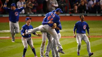 CLEVELAND, OH - NOVEMBER 02:  The Chicago Cubs celebrate after winning 8-7 in Game Seven of the 2016 World Series at Progressive Field on November 2, 2016 in Cleveland, Ohio.  (Photo by Gregory Shamus/Getty Images)