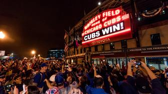 CLEVELAND, OH - NOVEMBER 2:  A general view of the Marquee outside Wrigley Field after the Chicago Cubs defeated the Cleveland Indians in Game 7 of the 2016 World Series on Wednesday, November 2, 2016 in Cleveland, Ohio. (Photo by Matt Kosterman/MLB Photos via Getty Images)