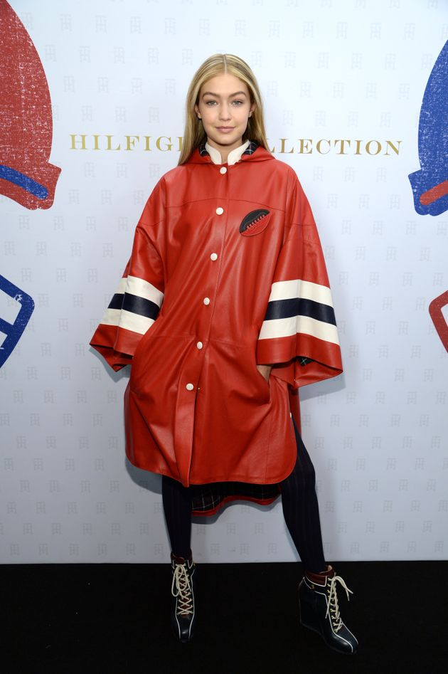 Gigi Hadid backstage at the Tommy Hilfiger Autumn/Winter 2015 show at New York Fashion