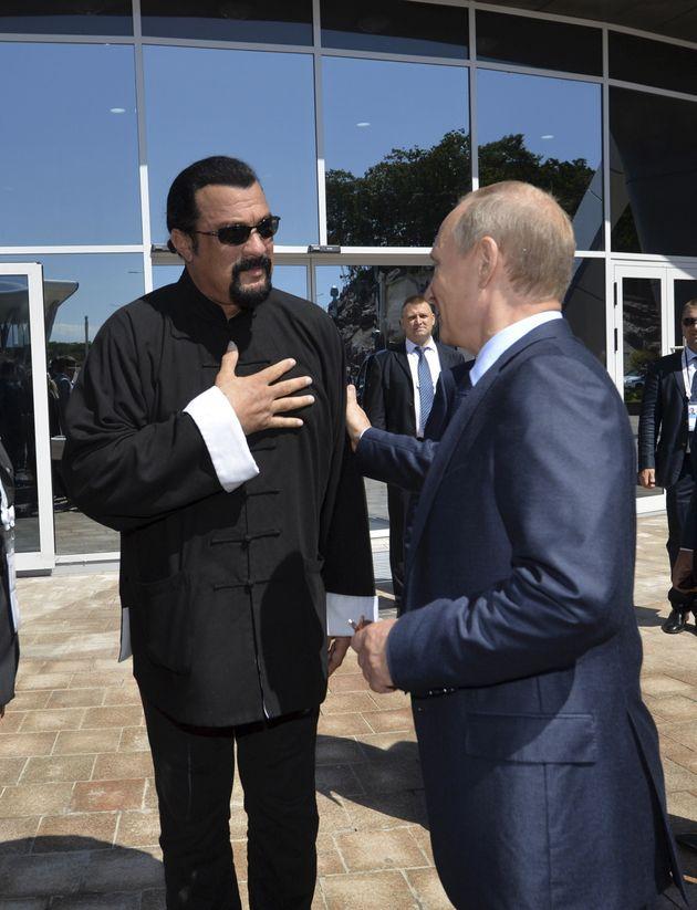 Steven Seagal met withRussian President Vladimir Putin atan oceanarium at Russky Island in...