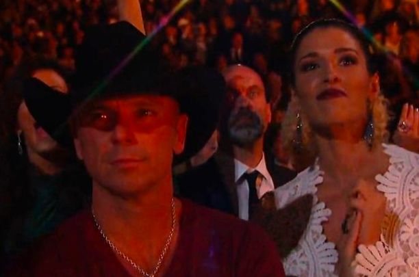 Kenny Chesney kept a poker face throughout Beyonce's performance, which didn't go