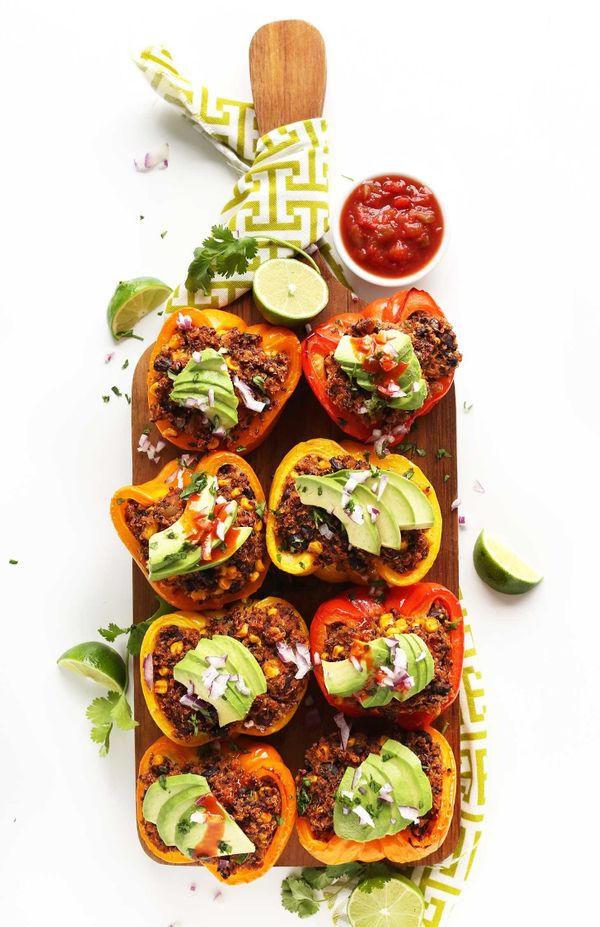 "<strong>Get the <a href=""http://minimalistbaker.com/spanish-quinoa-stuffed-peppers/"" target=""_blank"">Spanish Quinoa Stuffed P"
