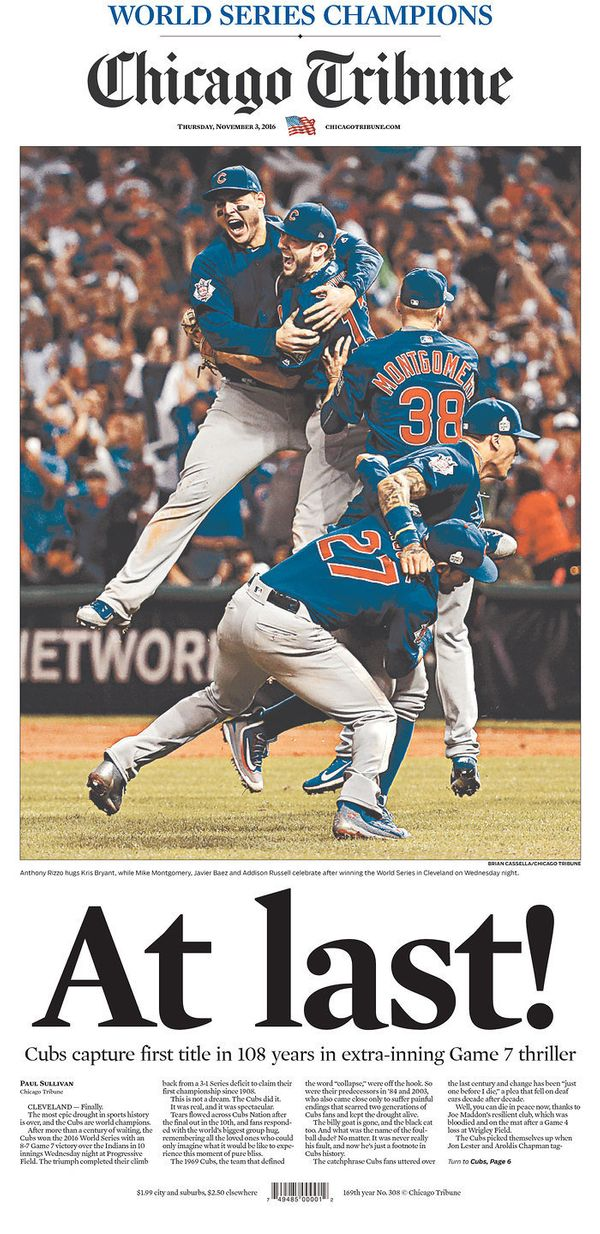 Chicago's biggest paper nailed the historic moment with aninstant classic of a cover. There's maybe a twinge of nostalg