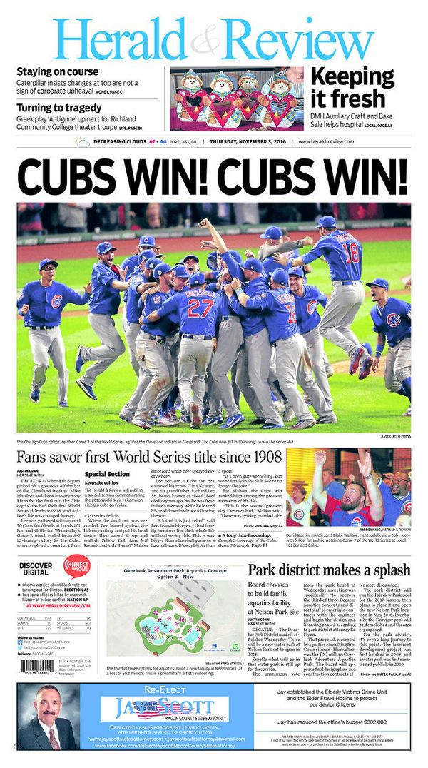 The Decatur-based paper out of central Illinois ran a headline that echoed a simple, shocking statement fans had waited more