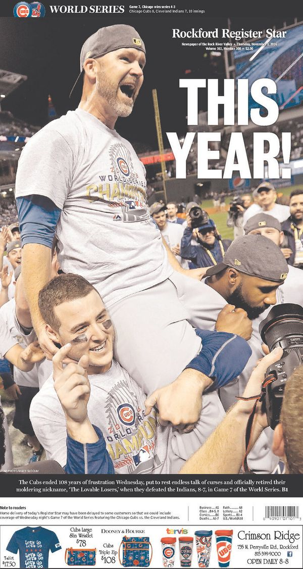 The Rockford, Illinois, paper showed a fan favorites: a jubilant Anthony Rizzo carrying retiring catcherDavid Ross (aka