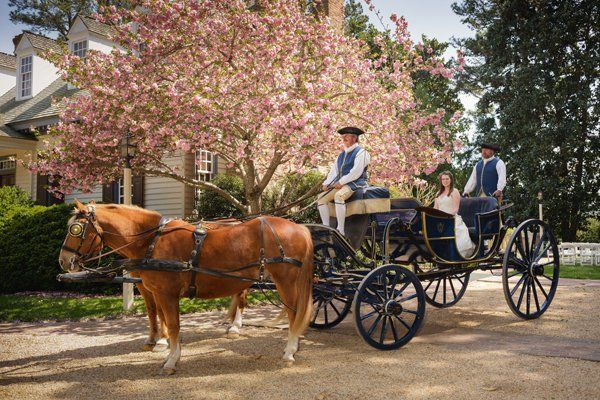 """<p><strong>An 18th-century-themed wedding at Colonial Williamsburg in Williamsburg, Virginia: </strong>Have your hubby-to-be and his groomsmen blow off some steam at the educational musket range while you and your flock of merry 'maids enjoy a 17th-century Detoxifying Herbal Wrap & Hot Stone Massage or the 18th-century Colonial Orange & Ginger Scrub & Massage at the Spa of Colonial Williamsburg. Make a grand entrance via horse-drawn carriage as guests marvel at your dress (<a href=""""http://www.bridalguide.com/dresses/find-the-perfect-dress/dress-trends/vintage-inspired-wedding-dresses"""" target=""""_blank"""">go vintage!</a>). You may even choose for your man to don handmade petticoats and a cap for the big day.</p>"""